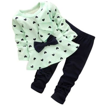 Little Girls 2PC Heart Print Bow Outfit