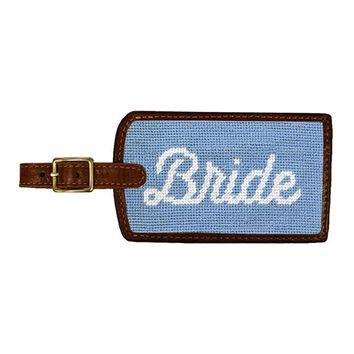 Bride Needlepoint Luggage Tag in Antique Blue by Smathers & Branson
