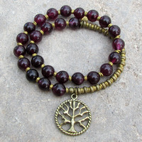 Love, genuine Garnet gemstone 27 beads mala bracelet™ with Tree of life charm