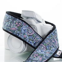 Camera Strap dslr, Blue Paisley, Floral, Canon, Nikon, Photography, slr, mirrorless, 19