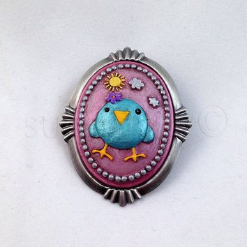 Hand-Painted Animal Statement Cameo Brooch