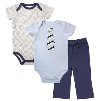 Luvable Friends Boys 3 Piece Grey Chevron Print and Light Blue Faux Tie Bodysuits and Navy Pant Set