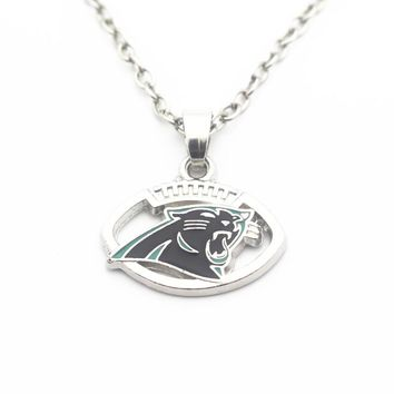 Hot Sale 10pcs/lot Metal Football Carolina Panthers Pendant Necklace 20 Inch Chains Necklace For Women Long Necklace Jewelry