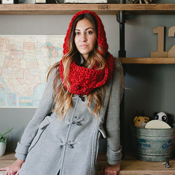 Hooded scarf PATTERN, scarf pattern, pdf, DIY, fall, autumn, winter
