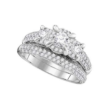 14k White Gold Women's Round 3-stone Diamond Bridal Wedding Engagement Ring Band Set 1-1/3 Cttw - FREE Shipping (US/CAN)