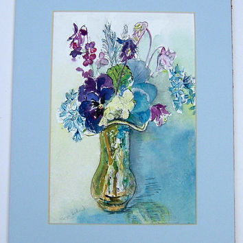 Vintage Art OOAK Painting Vintage Watercolor Painting Blue & Gold Signed Jenny Webb Vintage Home Decor Vintage Still Life Painting