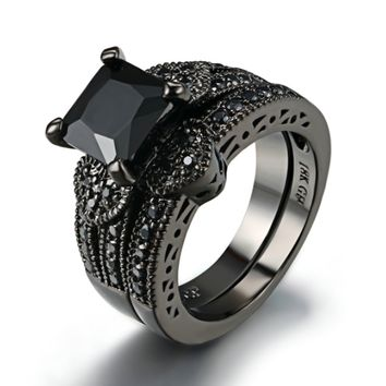Twilight Hearts Black Gold CZ Solitaire Engagement Ring Set