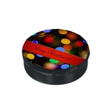 Multicolored Christmas lights. Add text or name. Jelly Belly Tins