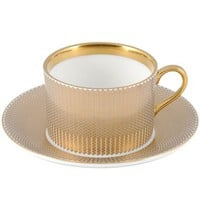 The New English Benday Gold Coffee Cup and Saucer - Style # BEN-G-COF, Benday Gold Dinnerware from The New English at SWITCHmodern.com