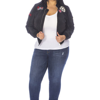 Plus Size Patched Up Bomber Jacket - Black