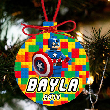 Personalized Christmas LEGO Ornament - Lego Movie Character Captain America