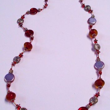 Red and Orange Glass Bead Necklace Silver Sun Accents