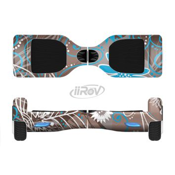 The Brown Surface with Blue and White Whymsical Floral Pattern Full Body Skin Set for the Smart Drifting SuperCharged Transportation iiRov