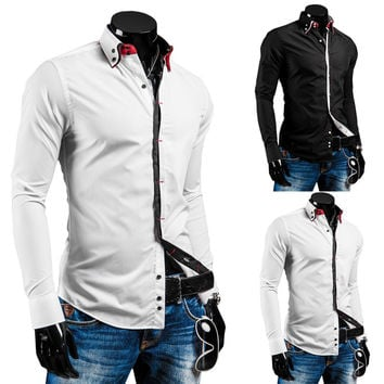 Men's Fashion Korean Men Strong Character Double-layered Long Sleeve Slim Shirt [6544491203]