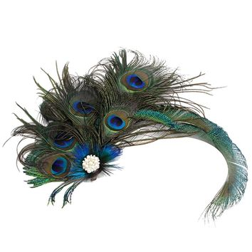 Chic Elegant Color Feather Flapper Headdress Headpiece Hair Clip Hairpin Fancy Dress Prom Accessory