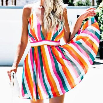 Best selling women's fashion sexy color matching striped strapless backless dress