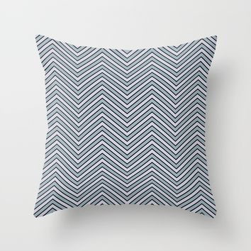 Black Pinstripe Slate and Lavender Chevron Throw Pillow by tjustleft