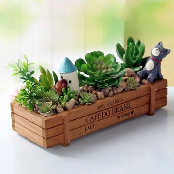 1Pcs Vintage Wood Crate with Rectangle Shape used for Planting Garden Flower Succulent on the Desktop