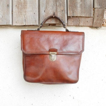 Vintage Small Leather Hand Bag , Briefcase Style / iPad Mini Briefcase / Small