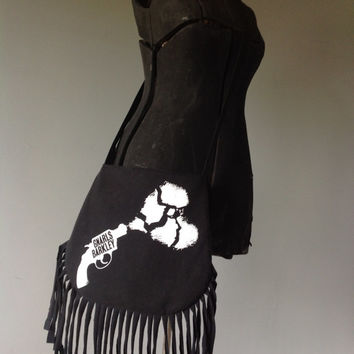 GNARLS BARKLEY - Upcycled Rock T-Shirt Fringe Purse - ooak