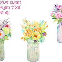 hand painted watercolour vase of flowers mason jars digital clipart printable instant download scrapbook wedding invitations greeting cards