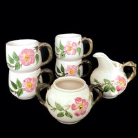 Vintage Franciscan Earthenware Desert Rose Pattern Dinnerware 6 Pc. Set Sugar Bowl and Creamer and Mugs Cottage Chic Home Decor Retro Dishes
