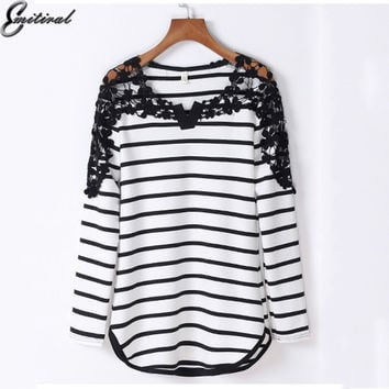 2017 Spring Plus Size Women T-Shirt Long Sleeve Stripe Elegant Lace up Hollow Out Ladies Tops Tee Shirts female Tshirt 4XL