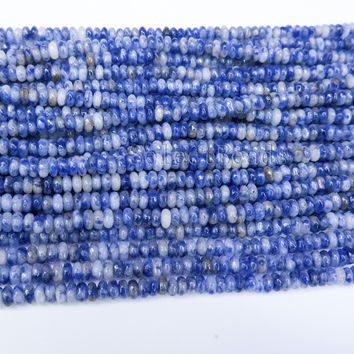 blue spot jasper rondelle beads - faceted rondelle beads - semi precious beads  -jewelry supplies online - stone beads wholesale-15inch