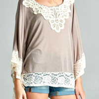 Lace Applique Poncho Top