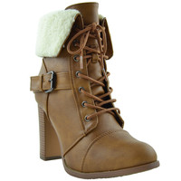 Womens Ankle Boots Lace Up Chunky Heel Fold Over Fleece Cuff Tan