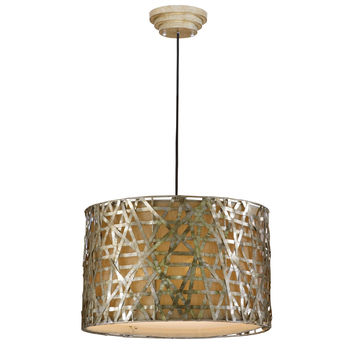Modern 3-Light Drum Ceiling Pendant Light in Champagne Satin Metal Finish