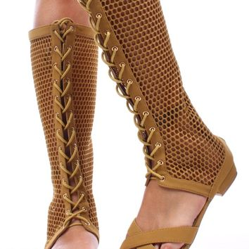 MUSTARD FAUX LEATHER FISHNET LACE UP GLADIATOR SANDALS