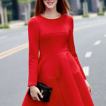 Red Long Sleeve Midi Skater Dress