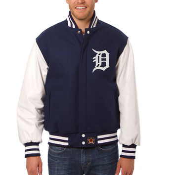Detroit Tigers Wool And Leather Varsity Jacket