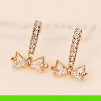 Stringed Rhinestone Bow Earrings