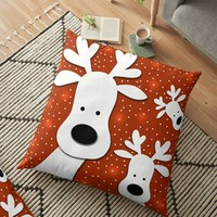 'Christmas reindeer - red 2' Floor Pillow by ValentinaHramov