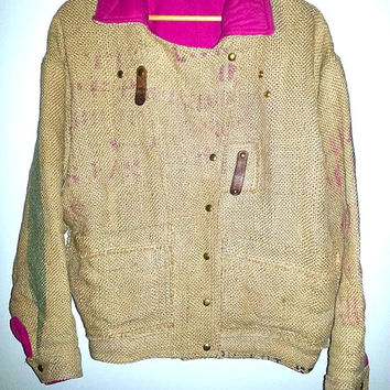 VINTAGE BURLAP JACKET Rare Button Up Tan Pink Blanket Lined Coat Boho Hippie Hipster Soft Grunge Men Women Unisex Size Large Extra Large