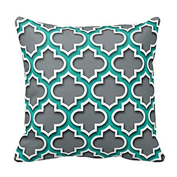 Charcoal Gray Teal White Moroccan Quatrefoil Throw Pillow Cover For Living Room, Sofa 16 x 16 Inches