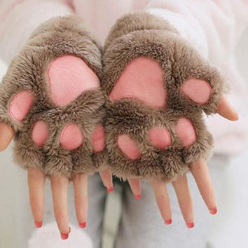 white pink black Winter Women Cute gloves Cat/Bear Claw Paw Plush Mittens Fingerless animals Half Finger Gloves woman 14colors