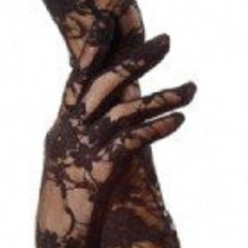 Black Lace Elbow Gloves Gothic Vamp Pin up Club Glam