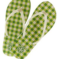 Tory Burch Ivory-Window Pane Green