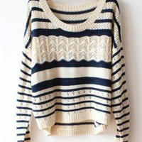 white and black stripe sweater