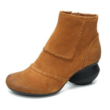 Vintage Suede Stitching Mid Heel Pure Color Ankle Boots