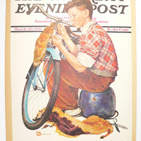 Boy with Bicycle Print, Vintage Color Print 1937 Saturday Evening Post Cover, Gift for Bicyclist, Bicycle Art Print, Vintage Americana Art
