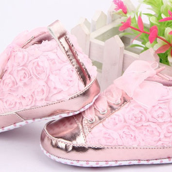 Girls Rose Flowers and Satin Baby Shoes