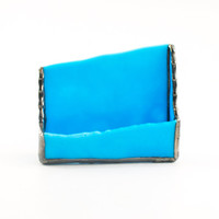 Business Card Holder Desk, Home Office Accessories, Unique Business Gifts, Desktop Decor, Office Organization, Baby Blue, Stained Glass