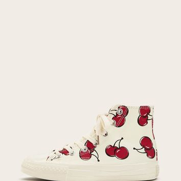 Cherry Pattern Canvas Sneakers