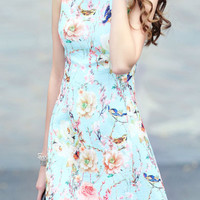 Blue Sleeveless Floral Jacquard A Line Dress