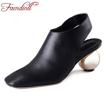 FACNDINLL brand concise fashion design square toe ball heel black genuine leather woman pumps high heels lady dress party shoes