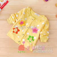 Girls Baby Sweet Flower Knitting Coats New Spring Autumn Children Long Sleeve Cardigan Pretty Baby Clothing Kids' Flower Clothes 4pcs/lot
